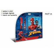 STATIONERY SET SPIDERMAN ORIGINAL MARVEL DIARIO SEGRETO CON LUCCHETTO + OROLOGIO DA POLSO DIGITALE+ PENNA 6 COLORI