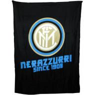 PLAID IN PILE FC INTERNAZIONALE ORIGINALE 120X150CM.NEROAZZURRO 100% POLIESTERE PRODOTTO UFFICIALE HERMET ITALY