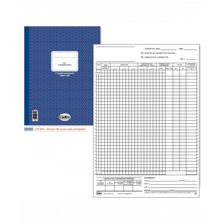 BLOCCO CORRISPETTIVI 13 MODULI AUTORICALCANTI DUPLICE COPIA CM. 29,7X21,5 - 13X2 COD.827 CIERRE ITALY
