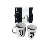 SET 2 PZ.MELANINA TAZZA MUG + BICCHIERE FC JUVENTUS BIANCO CON LOGO OFFICIAL PRODUCT ROYAL INDUSTRY .MADE IN ITALY
