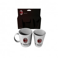 SET 2 PEZZI MELANINA TAZZA MUG + BICCHIERE AC MILAN BIANCO CON LOGO OFFICIAL PRODUCT ROYAL INDUSTRY MADE IN ITALY