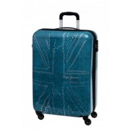 TROLLEY PEPE JEANS LONDON 55CM 4RUOTE EMBOSSED METAL FLAG AZZURRO 40X55X20CM