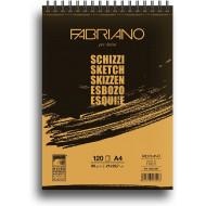 BLOCCO SCHIZZI A4 120 FOGLI SPIRALATO LATO CORTO 90G 21X29,7CM BROGLIACCIO ARTISTI TOP QUALITY FABRIANO MADE IN ITALY