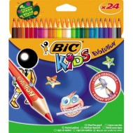 PASTELLI A LEGNO BIC KIDS 24 COLORI MINA SUPER RESISTENTE SUPER SOLIDA ECOLUTIONS EVOLUTION
