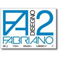 ALBUM DISEGNO F2 FABRIANO20 FOGLI LISCI 110G/MQ.24X33 CM.