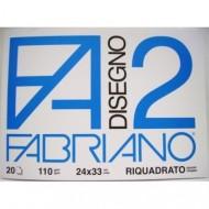 ALBUM DISEGNO 20 FOGLI LISCIO RIQUADRATO 24X33CM.110G/MQ.F2 FABRIANO