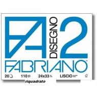 ALBUM DA DISEGNO BLOCCO F2 FABRIANO 20 FOGLI STACCATI LISCIO RIQUADRATO 110G/MQ.24X33CM MADE IN ITALY