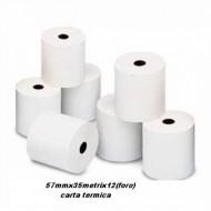 CONFEZIONE 10 ROTOLI CASSA CARTA TERMICA MISURA 57MM.X35METRI FORO 12MM.ALTA QUALITA.