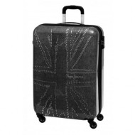TROLLEY PEPE JEANS LONDON 55CM 4RUOTE ABS EMBOSSED FLAG COLORE GRIGIO ANTRACITA 40X55X20CM