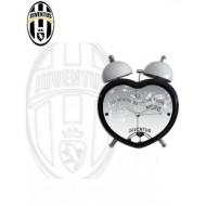 OROLOGIO SVEGLIA FORMA CUORE FC JUVENTUS ORIGINAL IN METALLO NERA CON CAMPANE BIANCHE15X11X6CM. PRODOTTO UFFICIALE