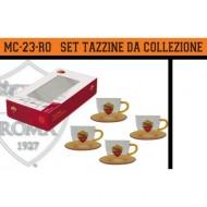 SET 4 TAZZINE VETRO + 4 PIATTINI AS ROMA DA COLLEZIONE IN SCATOLA REGALO PRODOTTO UFFICIALE