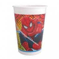BLISTER 8 BICCHIERI PARTY DI PLASTICA 200ML.STAMPA SPIDERMAN MARVEL ORIGINAL