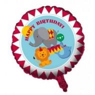 FOIL BALLON HAPPY BIRTHDAY CIRCUS TIME 45CM.BIANCOROSSO CON STAMPA ANIMALI GONFIATO CON GAS ELIO.