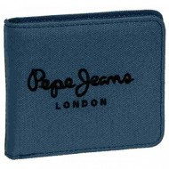 PORTAFOGLIO PEPE JEANS LONDON ORIGINAL COLORE BLU IN TESSUTO 10,5X9X2CM.CON P.MONETE CON POTA CARD 100% POLIESTERE
