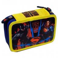 ASTUCCIO CORREDO SCUOLA 3 ZIP BATMAN CONTRO SUPERMAN W.BROS ORIGINAL 41PEZZI FRIXION/GIOTTO/FILA/LYRA/TRATTO