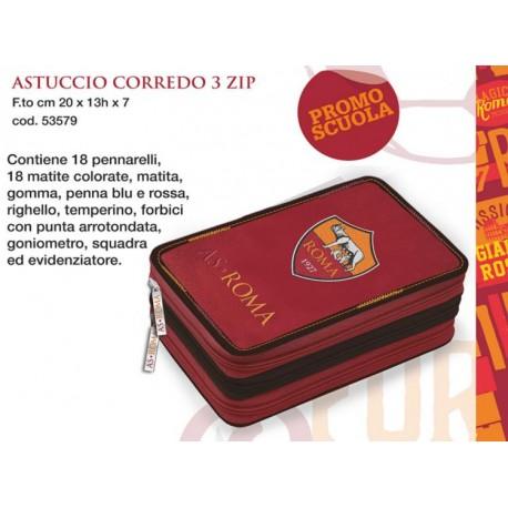 ASTUCCIO 3 ZIP AS ROMA ORIGINAL ROSSO CON LOGO COMPLETO DI 46 PEZZI COLORI FILA/GIOTTO PRODOTTO UFFICIALE PANINI ITALY