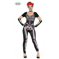 COSTUME SCHELETRO MESSICANO GIRL ADULTA... COSTUME SCHELETRO MESSICANO GIRL  ADULTA TAGL.UN.SOLO TUTA PER TRAVESTIMENTI DI HALLOWEEN CARNEVALE E PARTY  ... 0c45bbe6ace8