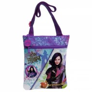 TRACOLLA PIATTA 2 ZIP DESCENDANTS FAIREST DISNEY ORIGINAL 20X24CM.COLORE VIOLA 70%POLIESTERE 30% PVC.