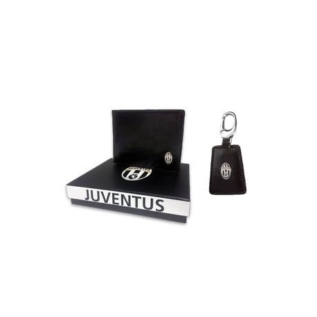 PARURE PORTAFOGLIO + PORTACHIAVI FC JUVENTUS 100% PU