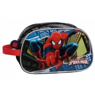 NECESER BUSTINA SCUOLA/BEAUTY DA VIAGGIO 1 ZIP SPIDERMAN BLUE CITY MARVEL ORIGINAL 26X16X12CM. COD.2454451-POLIEST/PVC.