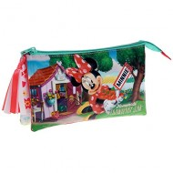 BUSTINA SCUOLA 1 + 1 CERNIERA 3 SCOMPARTI MINNIE STRAWBERRY DISNEY ORIGINAL 27X12X5CM 70%POLIESTER 30PVC COD 2394351