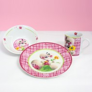 SET PAPPA CERAMICA DIDDL PIATTO PIANO/PIATTO FONDO(CIOTOLINA) E TAZZA. NUOVO DIDDL FOREVER UNITED LABELS AG GERMANY