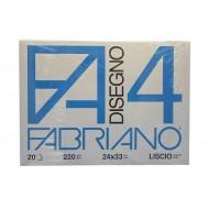 BLOCCO DISEGNO F4 FABRIANO 24X33 LISCIO 220GR. CARTA BIANCA FG.STACCATI
