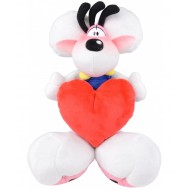 PELUCHE DIDDL BIANCO CON TUTA BLU BOTTONI GIALLI CUORE ROSSO 32CM NUOVO DIDDL FOREVER ORIGINAL UNITED LABELS AG GERMANY