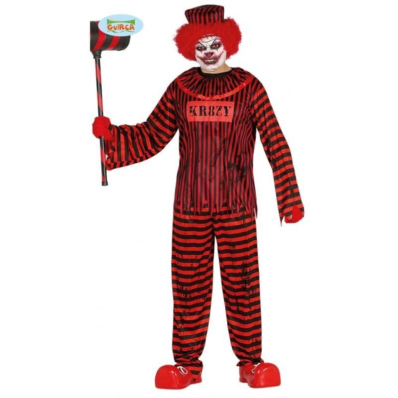 Costumi Halloween Adulti.Costume Clown Carcerato Horror Adulto Mis L Vestito Completo Cappello T Shirt Pantaloni Per Carnevale Halloween Parole E Pensieri