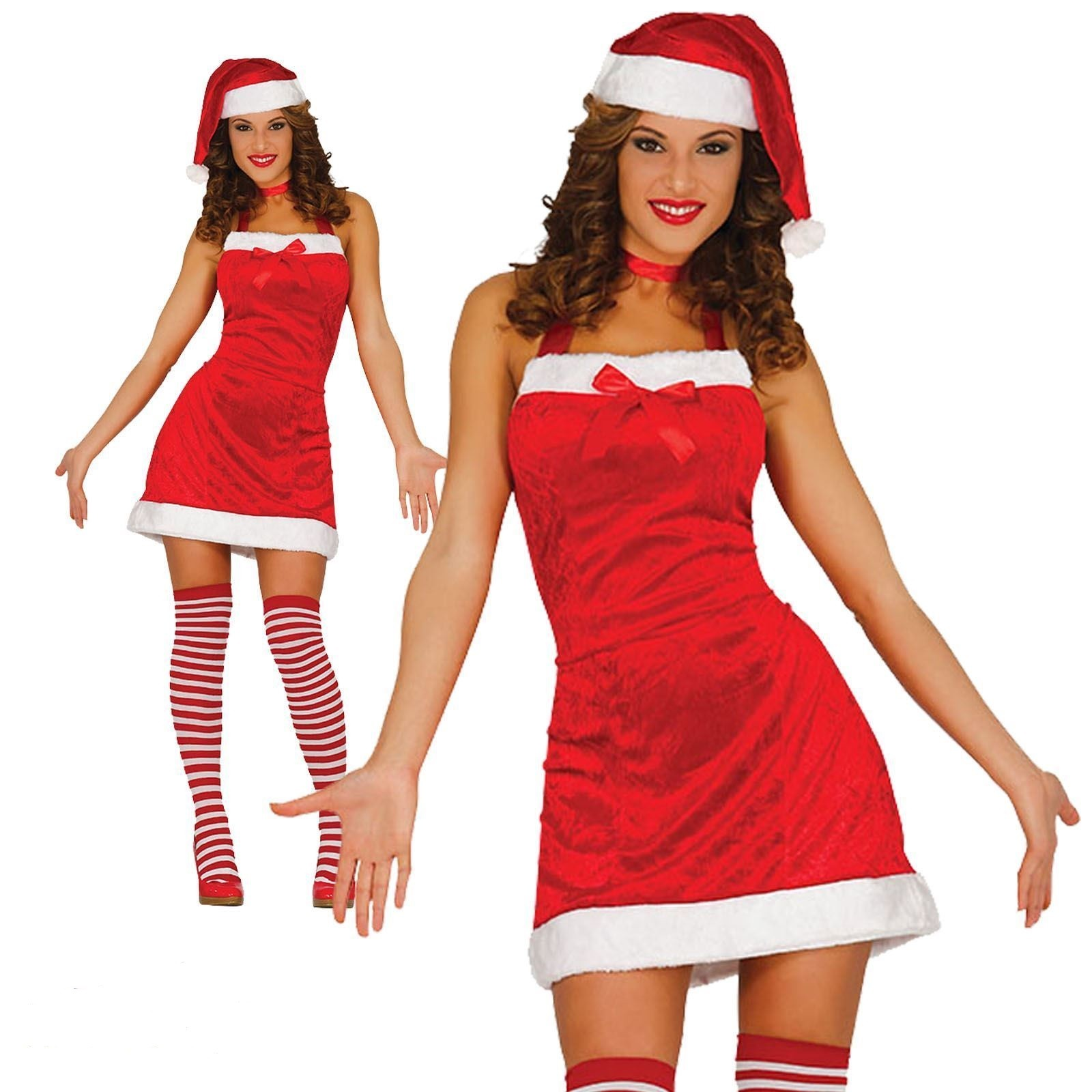 Babbo Natale Femmina Immagini.Costume Babba Natale Vestito Donna Taglia Unica Per Travestimenti Di Babbo Natale Completo Di Cappello E Collant Parole E Pensieri