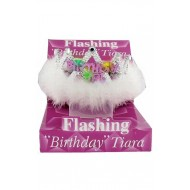 CORONCINA IN PVC HAPPY BIRTHDAY GIRL CON LUCI E PIUME FUNZIONAMENTO E BATTERIE INCLUSE