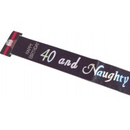 FASCIA IN RASO NERO CON SCRITTA IN ARGENTO 40 AND NAUGHTY SCRITTA HAPPY BIRTHDAY EFFETTO DIAMANTINI