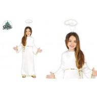 COSTUME ANGELO BABY 10/12 ANNI VESTITO BIANCO ORO CINTURA E AUREOLA X TRAVESTIMENTI DI CARNEVALE NATALE E RECITE A TEMA