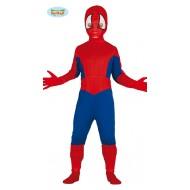 COSTUME CARNEVALE E FESTE VARIE.SPIDERMAN HERO BOY 10/12 ANNI VESTITO COMPLETO TUTA E CAPUCCIO COD.81643 GUIRCA
