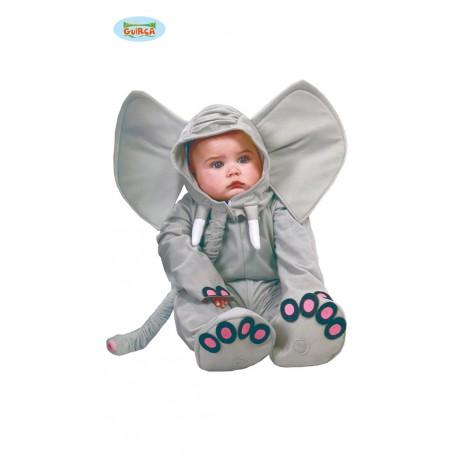 4eb5063df9 COSTUME CARNEVALE ELEFANTE BABY 6/12 MESI VESTITO PER BAMBINI COMPLETO TUTA  CAPUCCIO BROBOSCIDE E