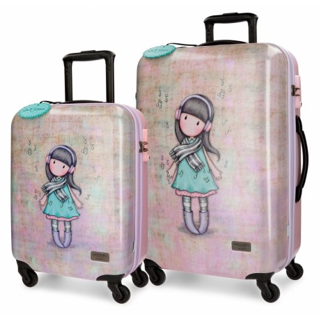 SET 2 TROLLEY DA VIAGGIO ABS GORJUSS LOST IN MUSIC SANTORO LONDON VALIGIE 1 BAGAGLI.A MANO 37X55X20CM 1STIVA 45X67X26CM