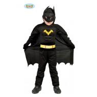 VESTITO COSTUME CARNEVALE BLACK HERO BATMAN NERO INFANTIL 5/6 ANNI ALTA QUALITA. CODICE 82710 ANCHE PER FESTE VARIE