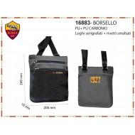 BORSELLO TRACOLLA UOMO AS ROMA ORIGINAL 22X17X4CM NERO 100%PU PRODOTTO UFFICIALE IMMA SPA ITALY