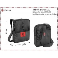 BORSELLO TRACOLLA UOMO AC MILAN ORIGINAL 21X17X3CM NERO 100%PU/PL PRODOTTO UFFICIALE IMMA SPA ITALY