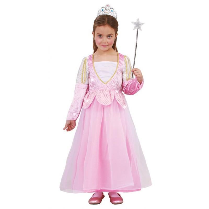 Costume Principessa Vestito Principesse Royal Regina PINK ROSA CARNEVALE 104-152