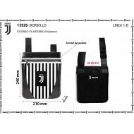 BORSELLO TRACOLLA FC JUVENTUS 25X22X1CM NERA A STRISCIE BIANCONERE TASCA CON ZIP ESTERNA +1 INTERNA PRODOTTO UFFIC.100%P