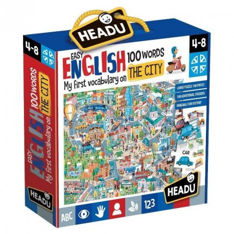 VALIGETTA EASY ENGLISH 100 WORDS MY FIRST VOCABULARY ON THE CITY LARGE PUZZLE 108PZ 108 ADD.STICKERS HEADU MADE IN ITALY