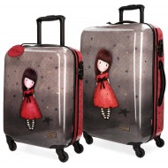 SET 2 TROLLEY ABS DA VIAGGIO THE BLACK STAR GORJUSS SANTORO LONDON ORIGINAL 37X55X20CM BAG. A MANO 45X67X26CM DA STIVA