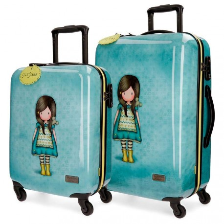 SET 2 TROLLEY DA VIAGGIO ABS 4 RUOTE GORJUSS THE LITTLE FRIEND SANTORO LONDON VALIG.37X55X20CM BAG.A MANO STIVA 45X67X26