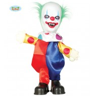 PAGLIACCO ASSASSINO CLOWN BALLERINO CON LUCI 42CM SUONA E BALLA ARTICOLI DECORATIVI DI HALLOWEEN VETRINE E PARTY HORROR