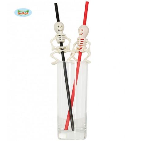 DRINKING STRAWS BLISTER 4 CANNUCCE 28CM ROSSE E NERE CON SCHELETRO ARTICOLI PER ADDOBBI HALLOWEEN E PARTY A TEMA HORROR