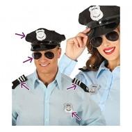 SET POLIZIA 4 PEZZI CAPPELLO OCCHIALI SPALLINE DISTINTIVO PER TRAVESTIMENTI  DI CARNEVALE E 3296640a7830