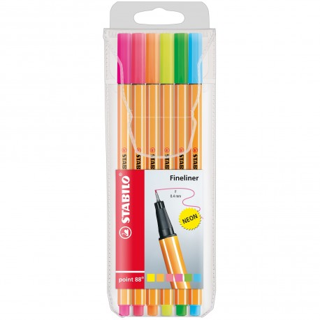 BLISTER 6 PENNE NEON STABILO POINT 88 PENNA EXTRA FINE PUNTA F 0,4MM 6 COLORI NEONASSORTITI FINELINER MADE IN GERMANY