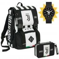 SCHOOL PACK FC JUVENTU ZAINO SCUOLA ESTENSIB.+ ASTUCCIO 3ZIP COMP.45 PEZZI E OROLOGIO OMAGGIO PROD.UFFICIALE SEVEN ITALY