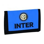 PORTAFOGLIO A STRAPPO FC INTERNAZIONALE 12X8CM MULTI TASCHE P.SPICCI CON ZIP AZZURRO BORDI NERI CON LOGO.DA PANINI ITALY
